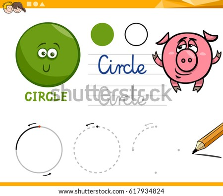 Educational Cartoon Illustration of Circle Basic Geometric Shape for Children