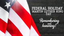 educational info card national federal holiday in USA Martin Luther King Day MLK background