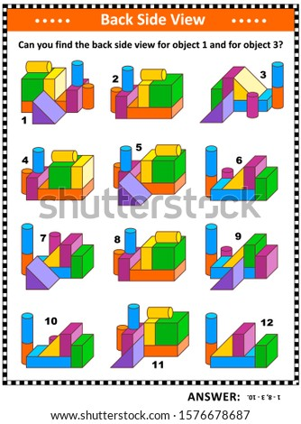 Educational math puzzle with building blocks objects (suitable both for children and adults): Can you find the back side view for object 1 and for object 3? Answer included.
