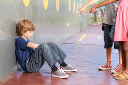 Educational school isolation and bullying concept.