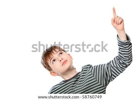 Educational theme: boy teenager showing upward. Isolated over white background.