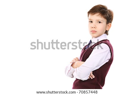 Educational theme: portrait of a schoolboy. Isolated over white background.