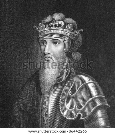 Edward III of England (1312 -1377). Engraved by Bocquet and published in the Catalogue of the Royal and Noble Authors, United Kingdom, 1806.