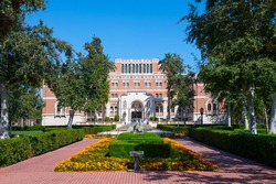 Edward L. Doheny Jr. Memorial Library on University of Southern California (USC) in downtown Los Angeles, California CA, USA.