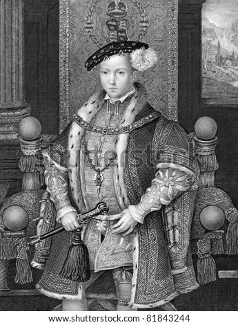 Edward VI (1537-1553). Engraved by H.T.Ryall and published in Lodge's British Portraits encyclopedia, United Kingdom, 1823.
