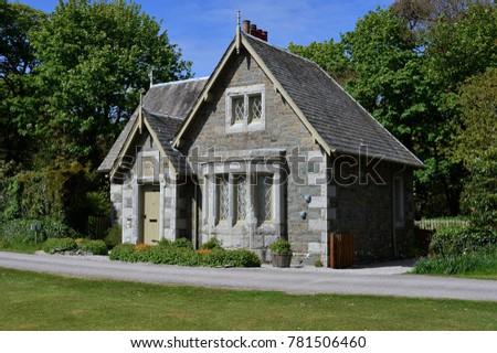 Edwardian built stone house, near Gatehouse of Fleet, Scotland in Spring time. #781506460
