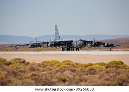 EDWARDS AFB, CA - OCT 17: Boeing B-52 Stratofortress taxiing to the runway at Flight Test Nation 2009, October 17, 2009, Edwards Air Force Base, CA