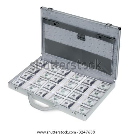 Een aktentashoogtepunt van de Rekeningen de V.S. van Honderd Dollars - stock photo