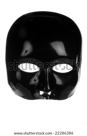 Eerie black face mask isolated on white background