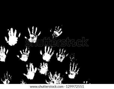 Eerie white hand print against a black background.