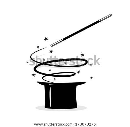 effective magic trick with cylinder and twisting magic wand