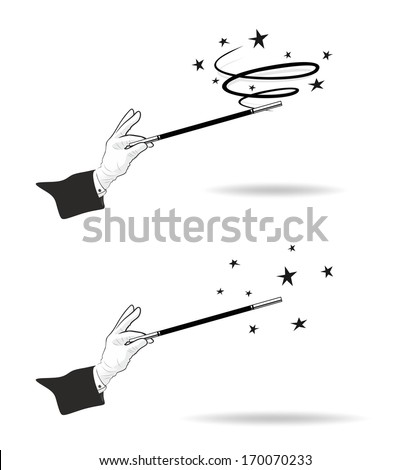 effective magic trick with hands in gloves and twisting magic wand