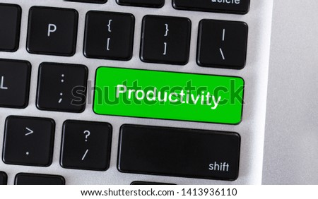 Effective work concept. Text Productivity on green button of computer keyboard, panorama #1413936110