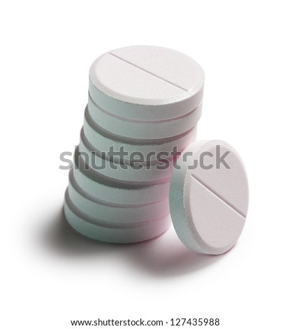 effervescent tablets on white background