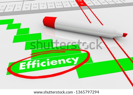 Efficiency Improve Effectiveness Plan Gantt Chart 3d Illustration