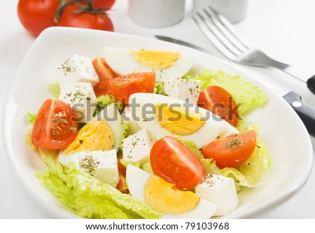 Egg and cheese salad with lettuce and cherry tomato