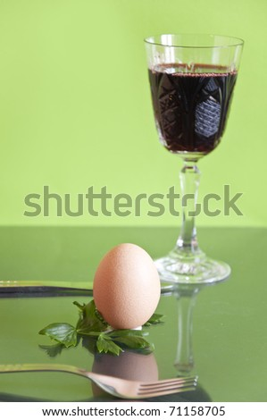 Egg and wine on the table
