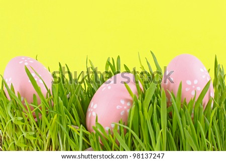 egg easter in a grass on yellow background