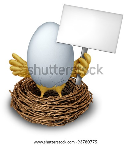 Egg In a Nest holding a white Blank Sign with humorous baby bird wings and legs cracking the  white shell showing a early bird anouncement with editable communication message from a twig nest.