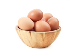 Egg in wooden bowl isolated on white background, with clipping path, concept Ready to cook eggs, Fresh from farm