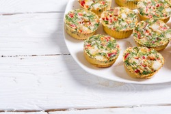 Egg muffins with onion , pepper , bacon and cheese
