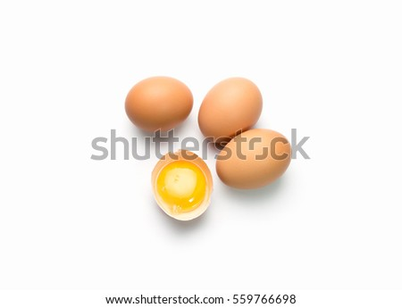 egg on white background with egg is broken #559766698