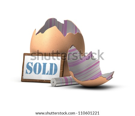 egg shell decorated with a pink and blue tapestry with a wooden sign where it's written the word SOLD, home staging concept