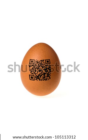 egg with qr code stamped on the shell
