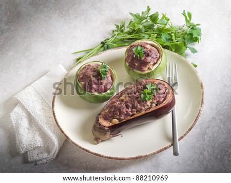 eggplant and zucchinis stuffed - stock photo