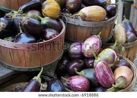 Eggplant in baskets at a road side farm stand