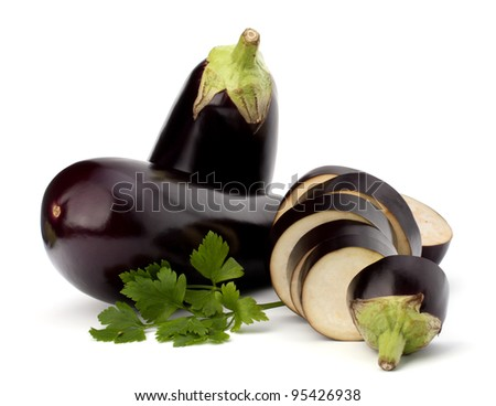 eggplant or aubergine and parsley leaf on white background