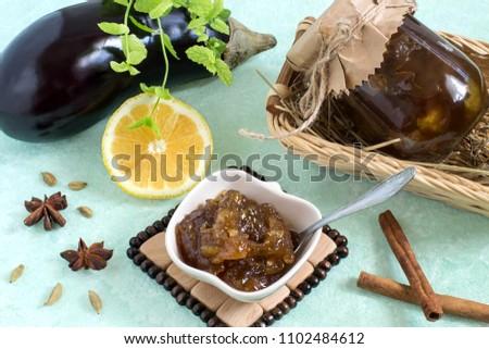 Eggplant preserves with lemon and spices. Original recipe for dessert. Homemade preserves
