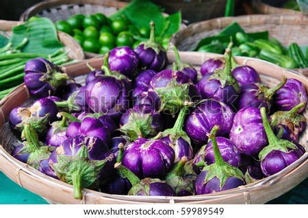 Eggplant purple in the basket