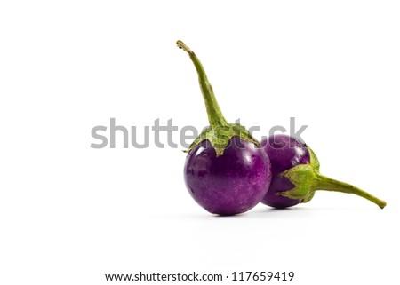 Eggplant purple on white background.