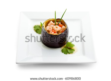Eggplant Stuffed with Seafoods and Vegetables