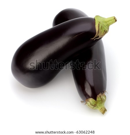 eggplants isolated on white background close up