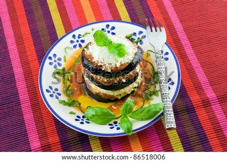 eggplants parmigiana  with cheese and tomato traditional recipe