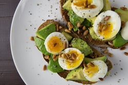 Eggs and avocado on toast