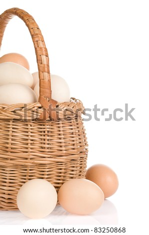 eggs and basket isolated on white background