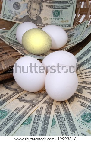 eggs and money in basket