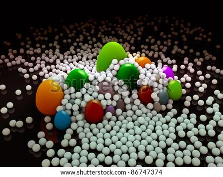 eggs and white balls