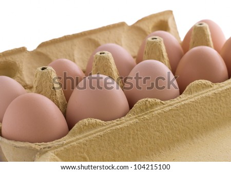 Eggs at box isolated on white