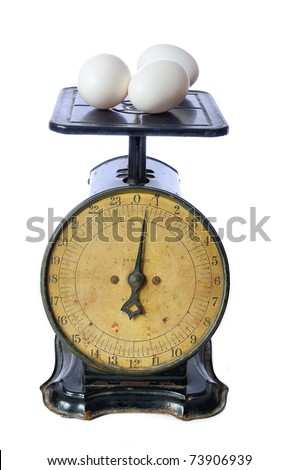 Eggs being weighed on an antique scale.