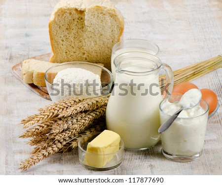 Eggs, bread and dairy products