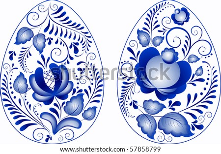 Eggs easter in gzhel style.  Gzhel (a brand of Russian ceramics, painted with blue on white). The vector version - in a portfolio