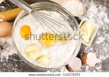 Eggs, flour and butter close-up