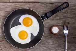 Eggs. Fried egg in a frying pan. Top view, closeup.