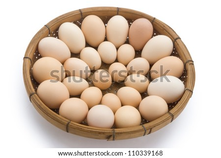 eggs in a basket with clipping path