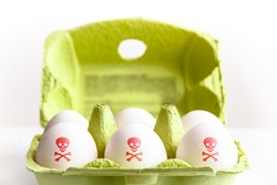 Eggs in a green paper package with the eggs painted with a red poisonous risk symbol skull and bones. Concept for food contamination egg scandal.