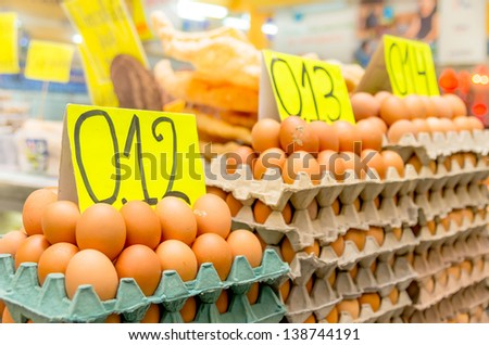 Eggs in a market in Quito, Ecuador